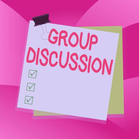 Handwriting text writing Group Discussion. Conceptual photo gather either formally or informally to bring up ideas Paper stuck binder clip colorful background reminder memo office supply