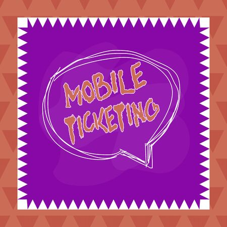 Text sign showing Mobile Ticketing. Business photo text tickets arrive as a text message with a special barcode Speaking bubble inside asymmetrical shaped object outline multicolor design