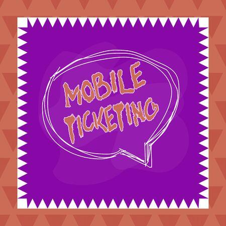 Textschild mit Mobile Ticketing. Geschäftsfoto-Texttickets kommen als Textnachricht mit einem speziellen Barcode an
