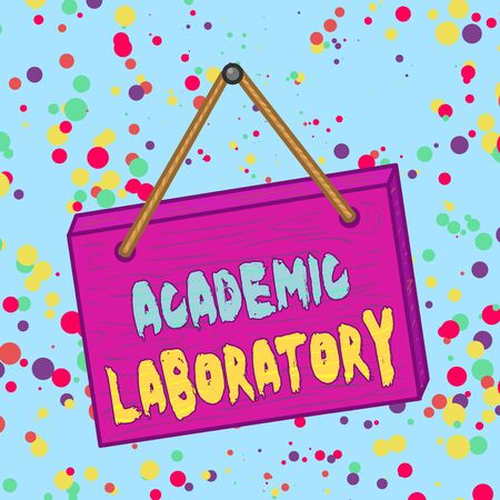 Handwriting text Academic Laboratory. Conceptual photo where students can go to receive academic support Square rectangle unreal cartoon wood wooden hang down on the coloured wall