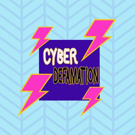Conceptual hand writing showing Cyber Defamation. Concept meaning slander conducted via digital media usually by Internet Asymmetrical format pattern object outline multicolor design