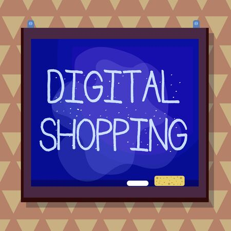 Text sign showing Digital Shopping. Business photo text act of purchasing products or services over the Internet Asymmetrical uneven shaped format pattern object outline multicolour design 写真素材