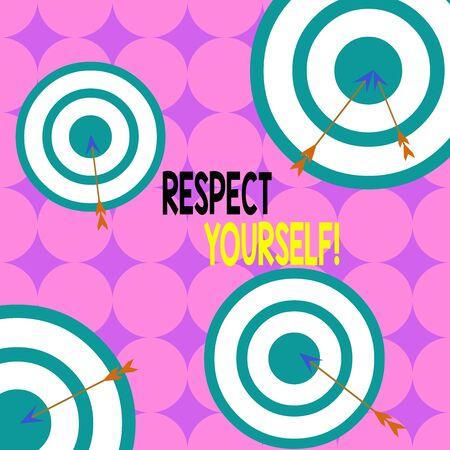 Writing note showing Respect Yourself. Business concept for believing that you good and worthy being treated well Arrow and round target asymmetrical shape multicolour design