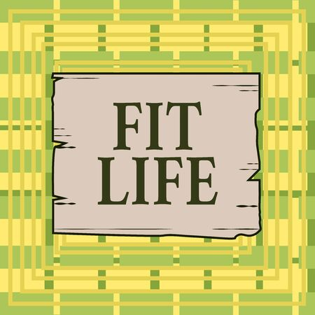 Text sign showing Fit Life. Business photo showcasing maintaining a healthy weight with diet and exercise Healthy living Wooden square plank empty frame slots grooves wood panel colored board lumber