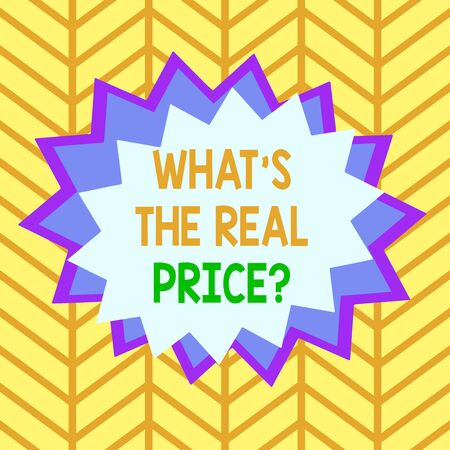 Handwriting text What s is The Real Price question. Conceptual photo Give actual value of property or business Asymmetrical uneven shaped format pattern object outline multicolour design Stock fotó