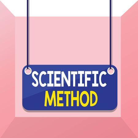 La main conceptuel montrant la méthode scientifique. Sens Concept méthode de procédure qui a caractérisé les sciences naturelles Conseil d'arrière-plan de couleur planche de chaîne attaché rectangle panneau Banque d'images