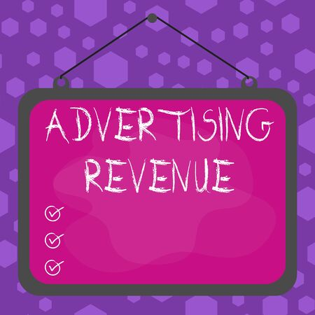 Writing note showing Advertising Revenue. Business concept for money media earn from selling advertising space or time Asymmetrical uneven shaped pattern object multicolour design