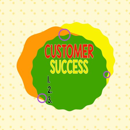 Writing note showing Customer Success. Business concept for customers achieve desired outcomes while using your product Asymmetrical format pattern object outline multicolor design