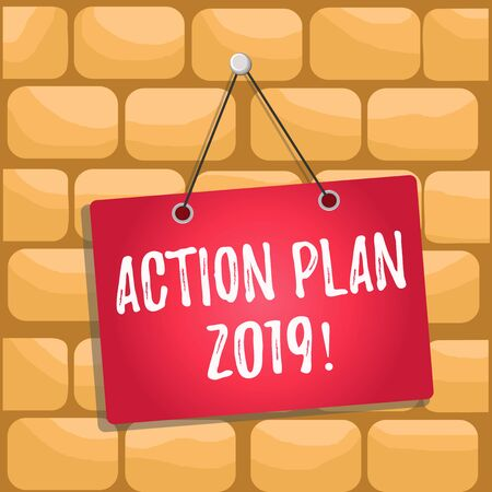 Handwriting text Action Plan 2019. Conceptual photo proposed strategy or course of actions for current year Colored memo reminder empty board blank space attach background rectangle
