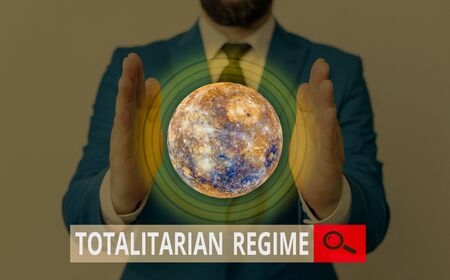 Text sign showing Totalitarian Regime. Business photo showcasing mode of government that prohibits opposition parties Imagens