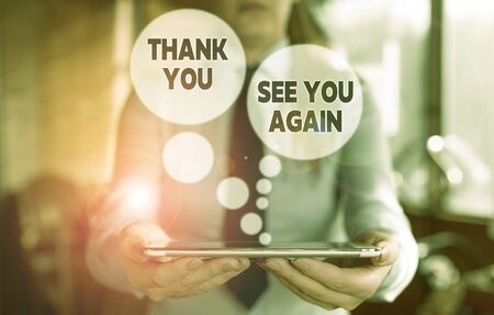 Conceptual hand writing showing Thank You See You Again. Concept meaning Appreciation Gratitude Thanks I will be back soon Woman in the background pointing with finger in empty space