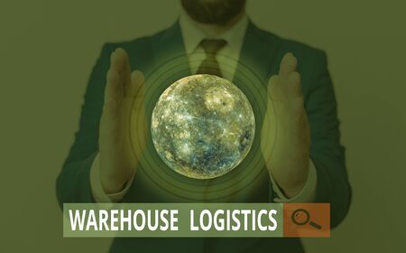 Text sign showing Warehouse Logistics. Business photo showcasing flow of both physical goods and information in business