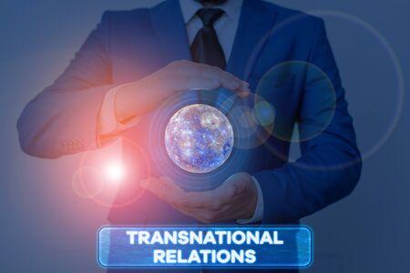 Word writing text Transnational Relations. Business photo showcasing International Global Politics Relationship Diplomacy