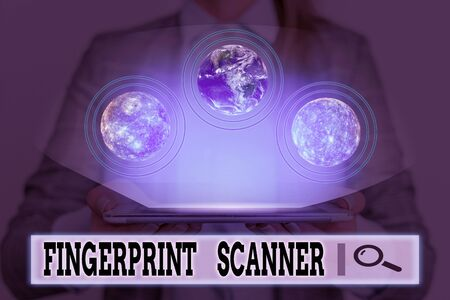 Writing note showing Fingerprint Scanner. Business concept for Use fingerprint for biometric validation to grant access