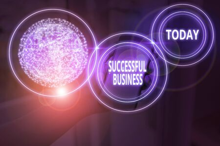 Text sign showing Successful Business. Business photo text Achievement of goals within a specified period of time 스톡 콘텐츠