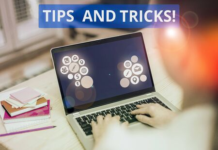 Text sign showing Tips And Tricks. Business photo text means piece advice maybe suggestion how improve Stock Photo