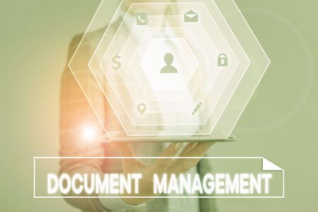 Conceptual hand writing showing Document Management. Concept meaning Computerized analysisagement of electronic documents