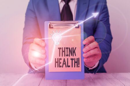 Writing note showing Think Health. Business concept for state of complete physical mental and social well being