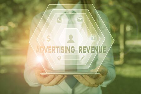 Handwriting text writing Advertising Revenue. Conceptual photo money media earn from selling advertising space or time Stock fotó