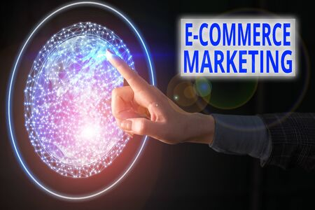 Text sign showing E Commerce Marketing. Business photo showcasing business that sells product or service electronically