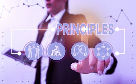 Word writing text Principles. Business photo showcasing fundamental truth that serves as the base for a system of belief