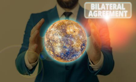 Conceptual hand writing showing Bilateral Agreement. Concept meaning Legal obligations to nonbinding agreements of principle Imagens