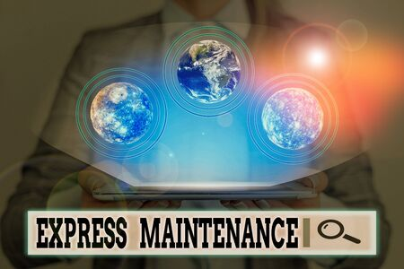 Writing note showing Express Maintenance. Business concept for damage is immediately debited to repairs and maintenance