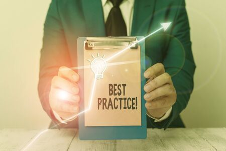 Writing note showing Best Practice. Business concept for commercial procedures accepted prescribed being correct
