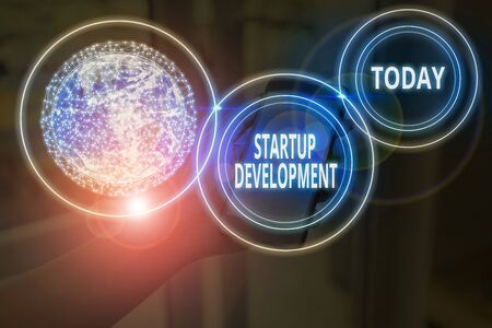 Text sign showing Startup Development. Business photo text efficiently develop and validate scalable business model