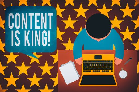 Word writing text Content Is King. Business photo showcasing marketing focused growing visibility non paid search results Upper view young man sitting working table laptop documents coffee cup pen