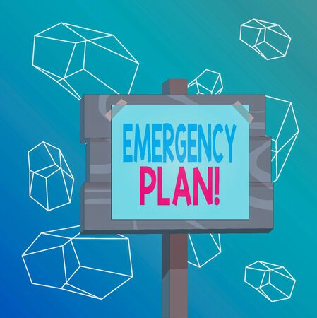 Word writing text Emergency Plan. Business photo showcasing actions developed to mitigate damage of potential events Wood plank wooden stick pole paper note attached adhesive tape empty space