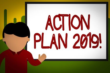 Word writing text Action Plan 2019. Business photo showcasing proposed strategy or course of actions for current year Young man standing in front whiteboard pointing to project. photo Art