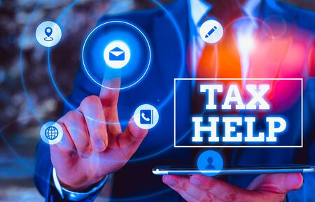 Conceptual hand writing showing Tax Help. Concept meaning Assistance from the compulsory contribution to the state revenue Banque d'images - 136604657