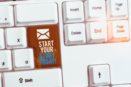 Writing note showing Start Your Story Today. Business concept for work hard on yourself and begin from this moment White pc keyboard with note paper above the white background