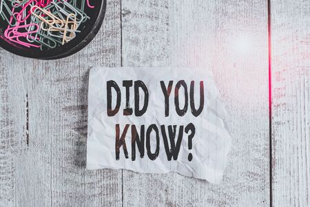 Conceptual hand writing showing Did You Know Question. Concept meaning when you are asking someone if they know fact or event Wrinkle paper and cardboard placed above wooden background