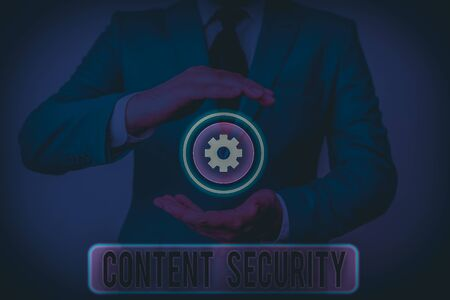 Text sign showing Content Security. Business photo text the protection against deliberate threats to content