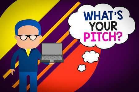 Handwriting text writing What S Is Your Pitch question. Conceptual photo asking about property of sound or music tone Standing man in suit wearing eyeglasses holding open laptop photo Art