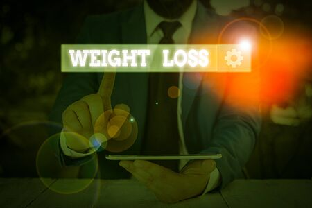 Text sign showing Weight Loss. Business photo text the fact of a demonstrating or animals body weight becoming less