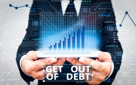 Text sign showing Get Out Of Debt. Business photo showcasing No prospect of being paid any more and free from debt 스톡 콘텐츠