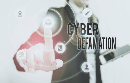 Handwriting text Cyber Defamation. Conceptual photo slander conducted via digital media usually by Internet Stok Fotoğraf