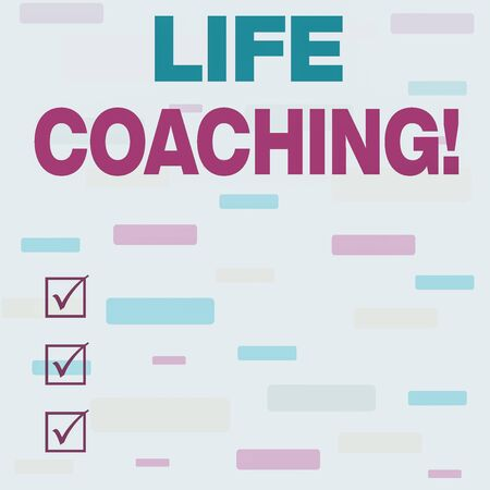 Writing note showing Life Coaching. Business concept for demonstrating employed to help showing attain their goals in career Seamless Infinite Different Size Multicolored Tiles Long Squares Stock Photo