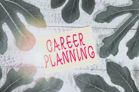 Conceptual hand writing showing Career Planning. Concept meaning Strategically plan your career goals and work success Leaves surrounding notepaper above a classic wooden table