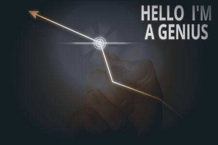 Conceptual hand writing showing Hello I M A Genius. Concept meaning Introduce yourself as over average demonstrating to others Stock fotó - 136482414