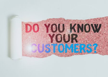 Writing note showing Do You Know Your Customers question. Business concept for asking to identify a customer s is nature Cardboard which is torn placed above a wooden classic table Stock fotó