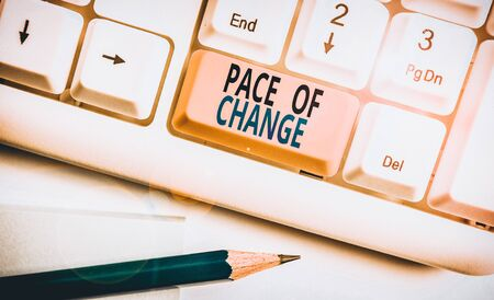 Word writing text Pace Of Change. Business photo showcasing Shift in normal routine Variation in usual activities White pc keyboard with empty note paper above white background key copy space