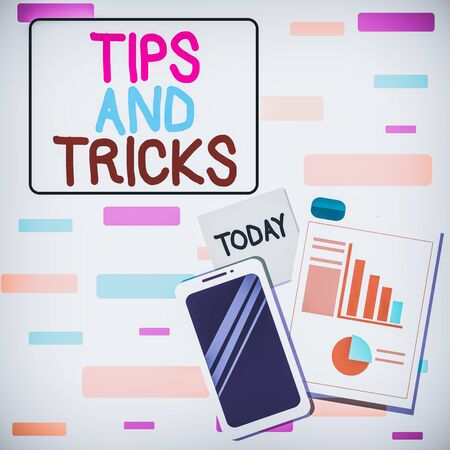Writing note showing Tips And Tricks. Business concept for means piece advice maybe suggestion how improve Layout Smartphone Sticky Notes with Pie Chart and Bar Graph