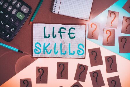 Handwriting text Life Skills. Conceptual photo skill that is necessary for full participation in everyday life Mathematics stuff and writing equipment above pastel colours background