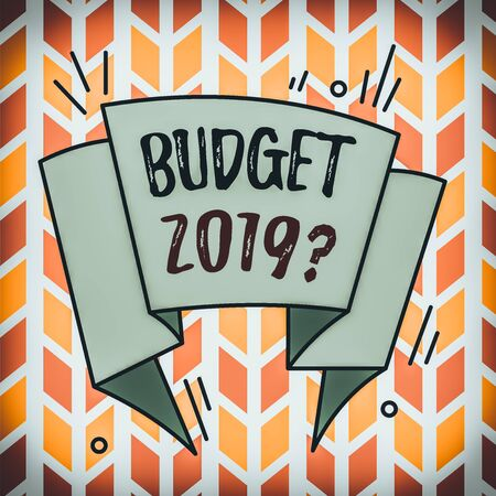 Text sign showing Budget 2019 Question. Business photo text estimate of income and expenditure for next year Asymmetrical uneven shaped format pattern object outline multicolour design