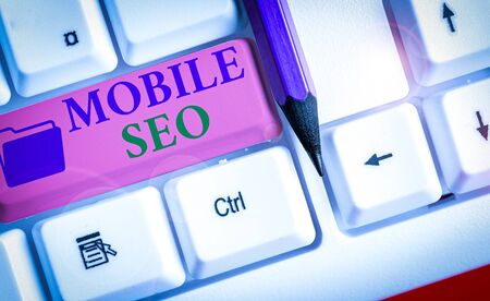 Word writing text Mobile Seo. Business photo showcasing process of optimizing a website to rank for mobile searches