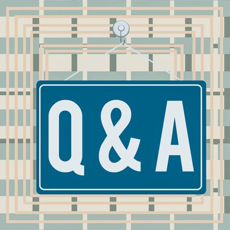 Text sign showing Q And A. Business photo showcasing defined as questions being asked and answers Colored memo reminder empty board blank space attach background rectangle